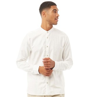 Ted Baker Mens Felday Long Sleeve Grandad Cotton Linen Shirt White