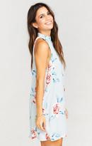 MUMU V-Right Back Mini Dress ~ Flower Hour Sky