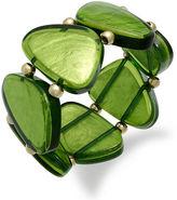 Style&Co. Bracelet, Gold-Tone Green Resin Shell Stretch Bracelet