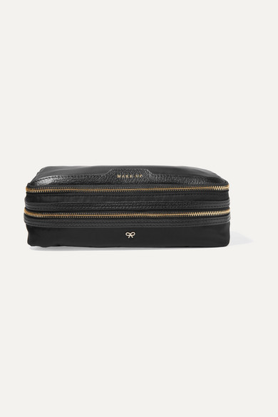 Anya Hindmarch Make Up Leather-trimmed Shell Cosmetics Case - Black