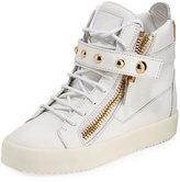 Giuseppe Zanotti May Metallic Lace-Up High-Top Sneaker, Mirror Platino