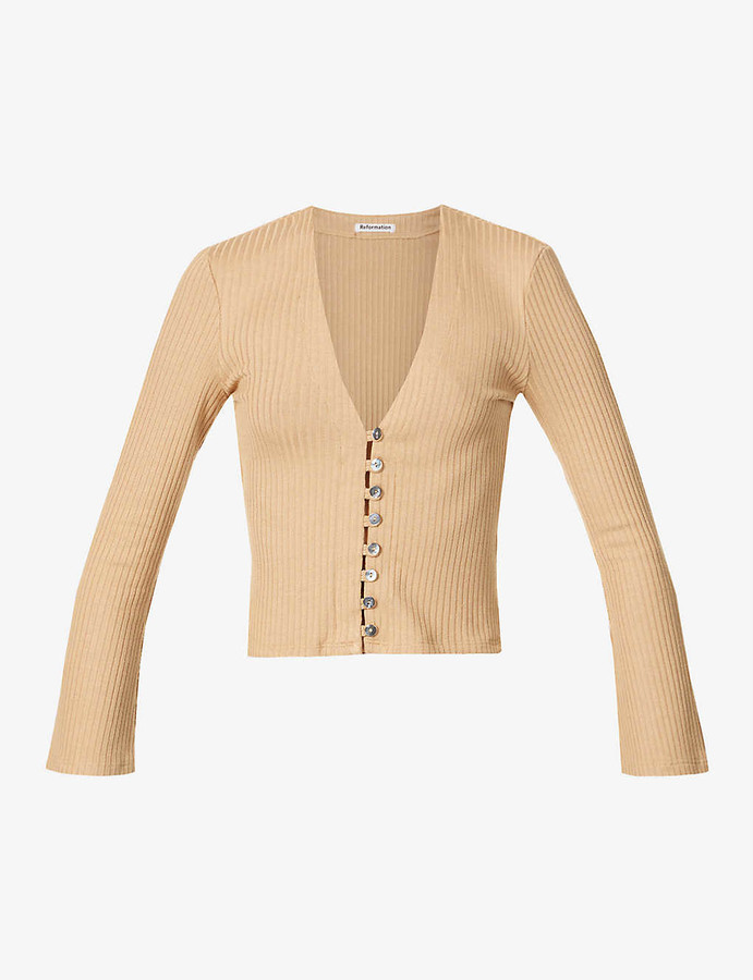 Thumbnail for your product : Reformation Gellar ribbed stretch-knit cardigan