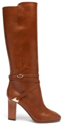 Aquazzura Saddle 90 Leather Below-the-knee Boots - Tan