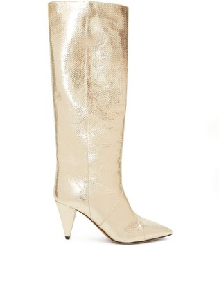 Isabel Marant Laomi Knee-high Snake-effect Leather Boots - Womens - Light Gold