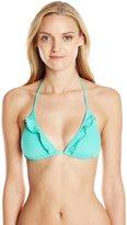 Shoshanna Women's Solid Pompom Ruffle String Bikini Top