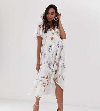 Asos DESIGN Maternity midi dress with cape back and dipped hem in dainty floral