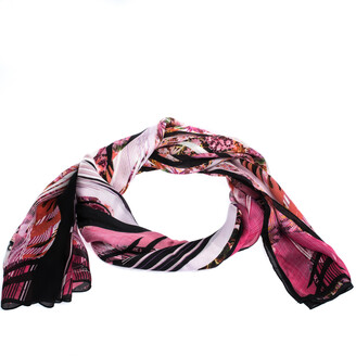 Roberto Cavalli Pink Abstract Floral Printed Silk Scarf