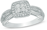 Zales Quad Diamond Accent Square Frame Promise Ring in Sterling Silver