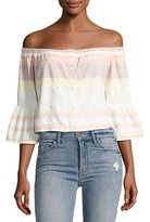 Mother Belle Striped Off-the-Shoulder Crop Top