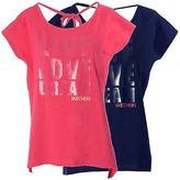Skechers Womens Knitted T-Shirt Scooped Neck Short Sleeve Split Back Top