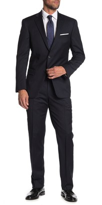 Hart Schaffner Marx Navy Pinstriped Two Button Notch Lapel Wool Classic Fit Suit
