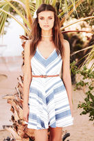 LuLu*s Let's Get Nautical Blue and Ivory Striped Skater Dress