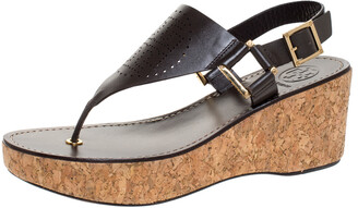 Tory Burch Brown Leather Cork Wedge Platform Thong Sandals Size 38