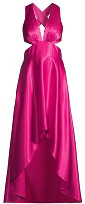 Aidan Mattox Satin Cutout High-Low Gown