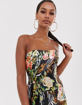 John Zack bandeau crop top two-piece with fill in tropical print