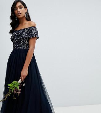 Maya bardot high low maxi dress in navy