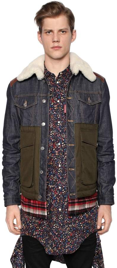 DSQUARED2 Denim Jacket W/ Nylon Down Back Panel