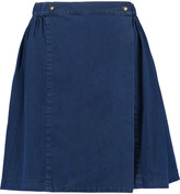MAISON KITSUNÉ Lili Indigo cotton-chambray wrap mini skirt