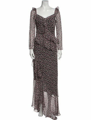 Diane von Furstenberg Floral Print Long Dress w/ Tags Black