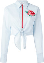 Au Jour Le Jour floral patch zip shirt