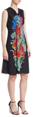 Giorgio Armani Floral Print Silk Georgette Drape Front A-Line Dress