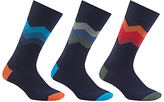 John Lewis Chevron Socks, Pack Of 3, Navy/multi