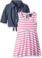 U.S. Polo Assn. Girls' Striped Knit Skater Dress With Chambray Shirt-Jack