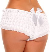 DaisyCorsets Daisy Corsets Women's Plus-Size Mesh Ruffle Shorts with Bow Plus