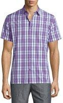 Vince Plaid Short-Sleeve Shirt, Purple