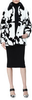 Michael Kors Mink Fur Floral Intarsia Coat, Black/White