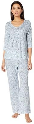 Carole Hochman Soft Jersey 3/4 Sleeve Long Pajama Set (Blue Birds) Women's Pajama Sets