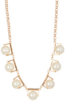 Stephan & Co Simulated Pearl Metal Cast Frame Necklace