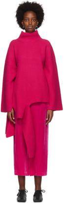 Enfold Pink Wool Asymmetry Turtleneck