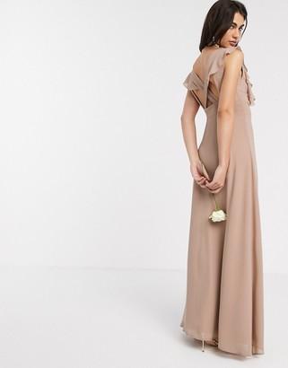 TFNC Bridesmaid ruffle detail maxi dress in mink