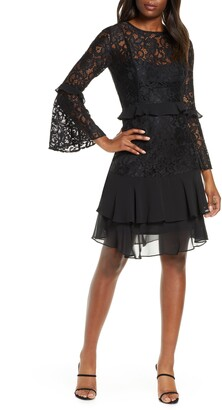Taylor Dresses Long Sleeve Chiffon Trim Lace Dress