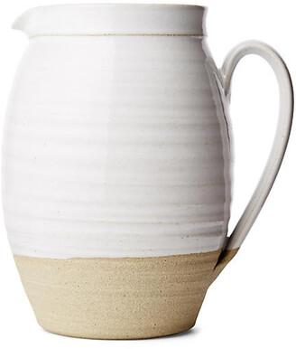 "Barrel Pitcher - Natural/White - Farmhouse Pottery - 7"""