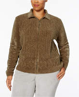 Alfred Dunner Plus Size Chenille Zip-Up Sweater Cardigan