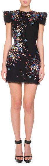 Andrew Gn Beaded Cap-Sleeve Open-Back Mini Dress