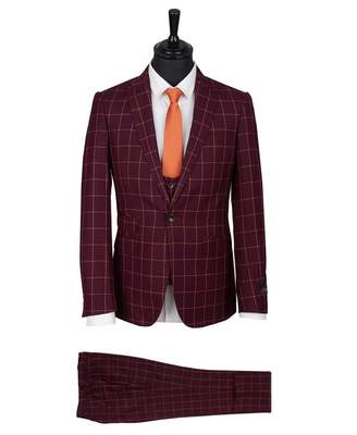 Pamoni Slim Fit Three Piece Checked Suit Colour: WINE, Size: 38R