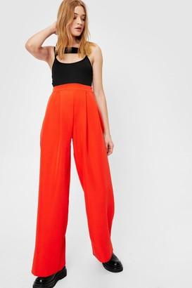 Nasty Gal Womens Wide Leg Pleated Trouser - Orange