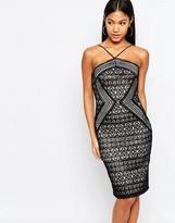 Lipsy Michelle Keegan Loves Geo Lace Strappy Dress