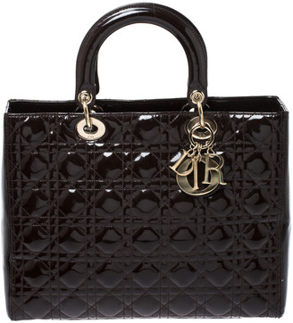 Christian Dior Brown Cannage Patent Leather Large Lady Tote