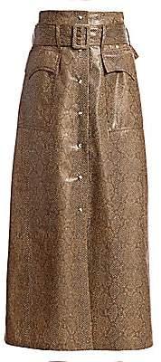 Nanushka Women's Aarohi Snake Vinyl Midi Skirt