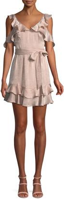 Donna Mizani Tatiana V-Neck Ruffles Tie-Belt Mini Dress
