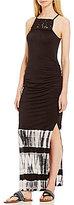 Jessica Simpson Tessanne Macrame Tie-Dye Border-Hem Maxi Dress