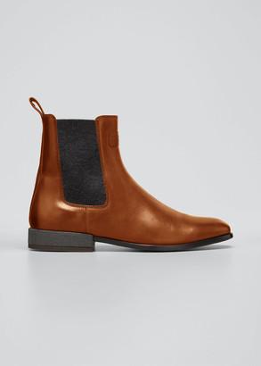 Brunello Cucinelli Leather Monili-Heel Chelsea Booties
