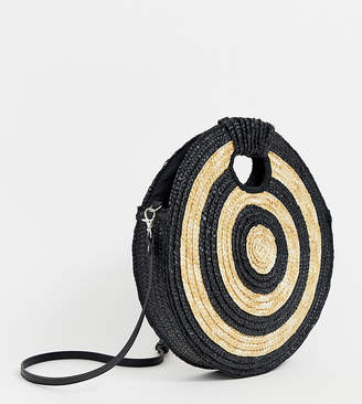 South Beach Exclusive large round straw contrast cross body bag-Black