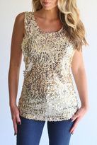 Laundry by Shelli Segal Sequin Gold Tank