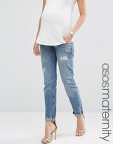 Asos Portland Loose Boyfriend Jeans With Embroidery And Rip And Repair With Under The Bump Waistband