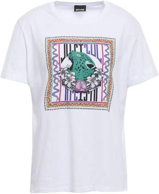 Just Cavalli Embellished Printed Cotton-jersey T-shirt